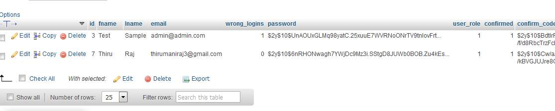 Database Secure login and registration system php